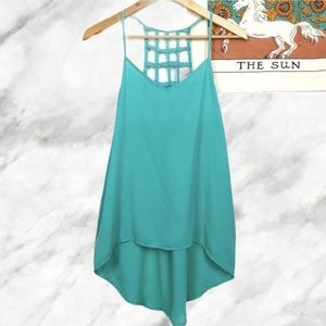 heckered Cutout Detail High Low Teal Tank Top S